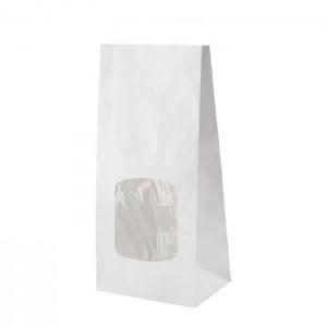 Popieriniai maišeliai su langeliu, balti